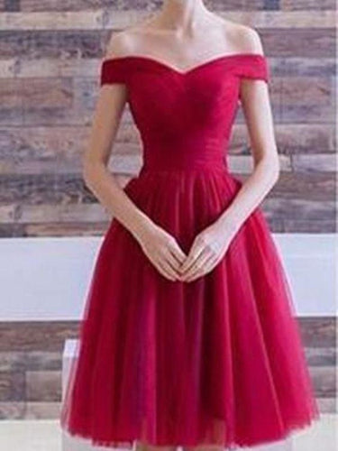 Red Off the Shoulder Tulle Short Prom Dres Short Red Homecoming Dress GDC1315-Dolly Gown