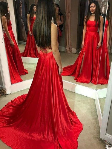 Red Simple Prom Dress Long Formal Gown with Chapel Train,Backless Red Gown,GDC1010-Dolly Gown