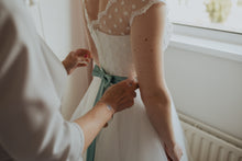 Retro Cap sleeves Polka Dots Short Wedding Dress,Vintage Tea length Wedding Dress with Polka Dots