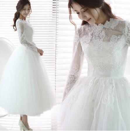 Retro Style Long Sleeved Lace Tulle Full Circle Tea Length Wedding Dress,20082220