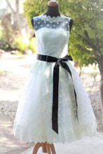 Retro Style Stunning Polka Dots Tea Length 1950s Style Modest Tea Length Wedding Dress,20082001