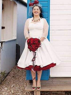 Retro Tea Length Halter 50s Wedding Dress with Polka Dot Bolero,20111765
