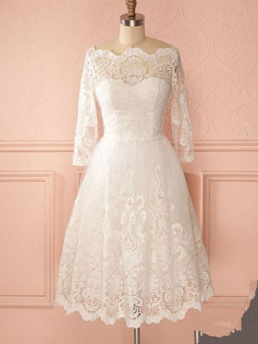 Retro 50s Off the Shoulder Lace Short Vintage Wedding Dress with Long Sleeves GDC1522-Dolly Gown
