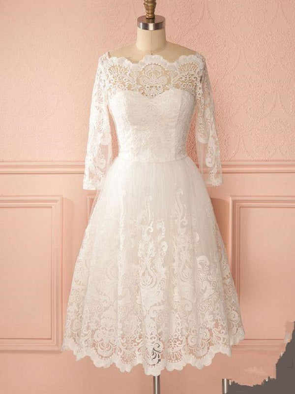 Retro 50s One Shoulder Lace Short Wedding Dress with Long Sleeves ,GDC1522