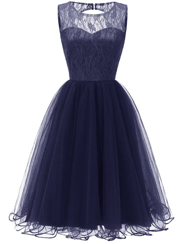 Retro Modest Navy Blue Lace Tulle Cocktail Dress Short Vintage Homecoming Dress, 074N