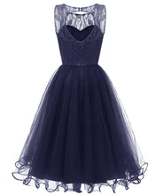 Retro Modest Navy Lace Tulle Cocktail Dress Short Homecoming Dress, 074N