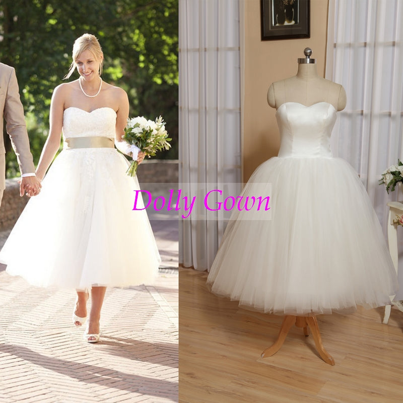 Rockabilly Wedding Dress.Retro Tulle Strapless Vintage 50s Style Rockabilly Wedding Dress Tea Length Simple Bridal Gown Do008