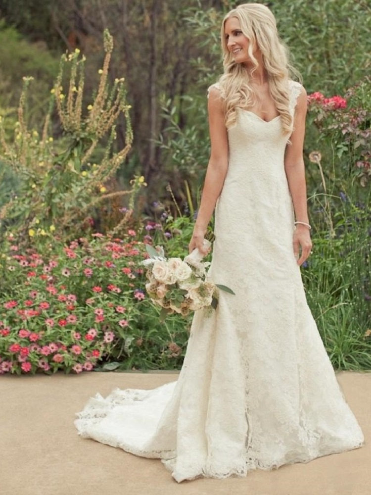 Ridiculously Stunning Lace Wedding Dress with Cap Sleeves,GDC1026