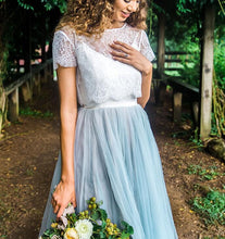 Casual Country Style Lace Top Two Piece Wedding Dress with Tulle Skirt Bridal Separates,20082221-Dolly Gown