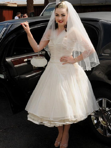 Rockabilly Halter Ruched 50s Style Short Wedding Dress Pinup Wedding Dress,20110124