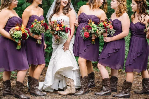 ockabilly Purple Strapless Chiffon Summer Short Bridesmaid Dresses with Boots,20082025