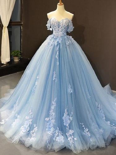 Romantic Blue Off the Shoulder Tulle Lace Appliques Ball Gown for Prom,20081621
