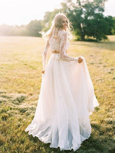Romantic Boho Flowy Long Sleeve Lace Crop Top Bridal Separates with Chiffon Skirt,20082563-Dolly Gown