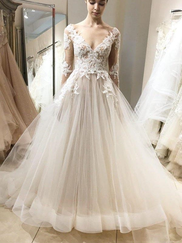 Romantic Fairy Long Sleeve Elegant Lace Top Tulle Wedding Dress with Sleeves,GDC1134-Dolly Gown
