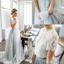 Romantic Rustic Lace Short Sleeved Crop Top Wedding Dress with Grey Tulle Skirt,20082208
