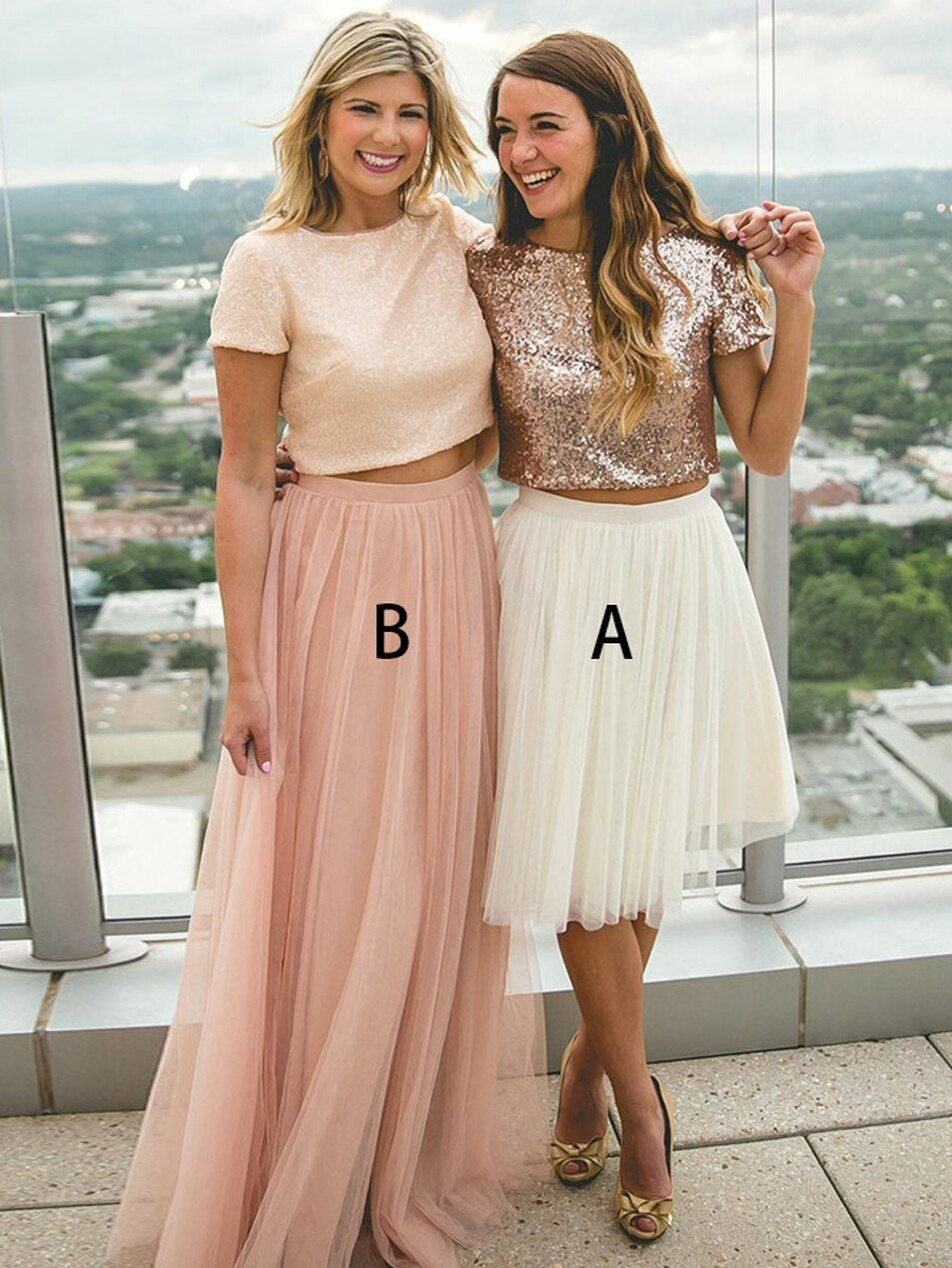 Romantic Short Sleeve Rose Pink Mismatched Two Piece Bridesmaid Dresses with Tulle Skirts,20081816-Dolly Gown