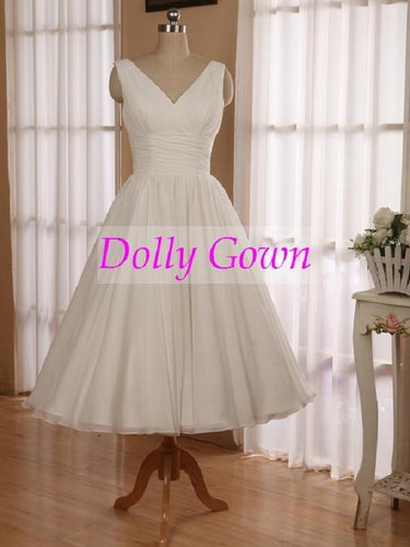 Romantic Simple 1950's Short Chiffon Vintage Wedding Dress Short Pin Up Wedding Gown,DO006-Dolly Gown