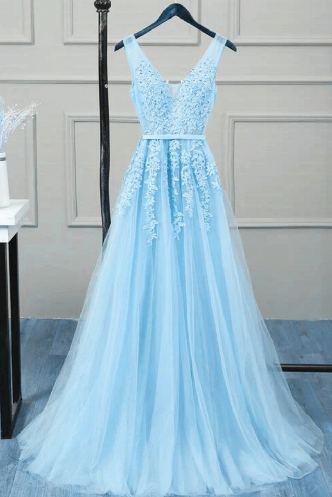 Romantic Tulle Lace V Back Sky Blue See Through Prom Dress Formal Dress #21111222-Dolly Gown