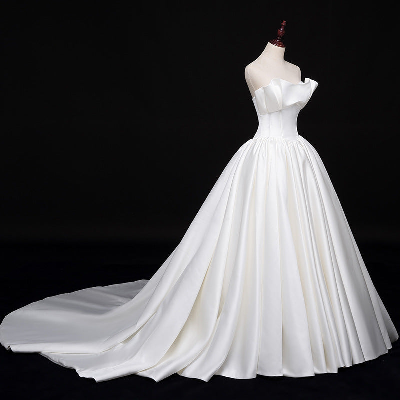 Romantic Unique Satin Ball Gown Cathedral Train Wedding Dress with Long Train #21011205-Dolly Gown