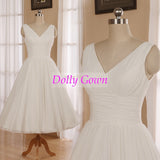 Romantic Tea Length Chiffon Vintage inspired 1950s Wedding Dress,Short Pin Up Wedding Gown,DO006