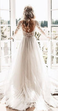Romantic Tulle Custom Made Backless Wedding Dress with Sleeves,Robe De Mariée,GDC1090