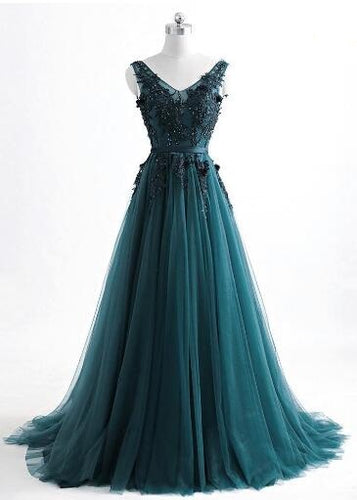 Romantic V neck Green Lace Appliques Tulle Long Prom Dress,GDC1204
