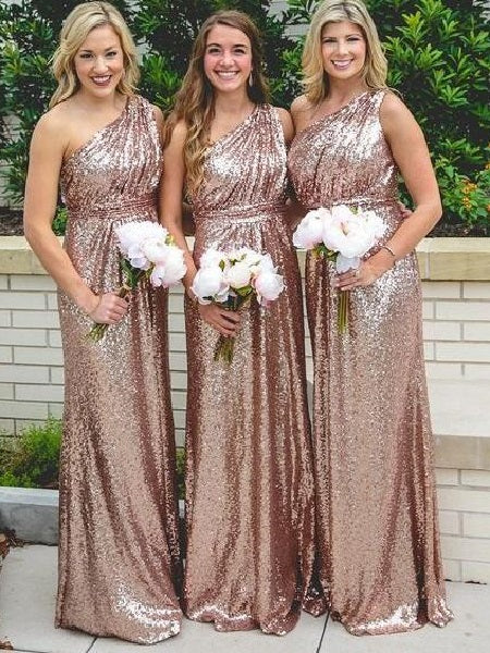 Rose Gold One Shoulder Bridesmaid Dresses Long Sequin Bridesmaid Dresses FS100