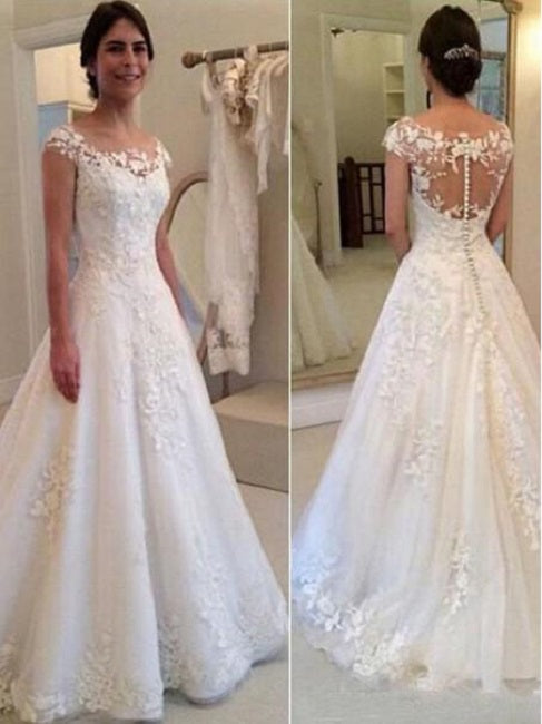 best prices modern design 100% quality quarantee Round Neck Rustic Wedding Dress Lace Bridal Gown,GDC1349