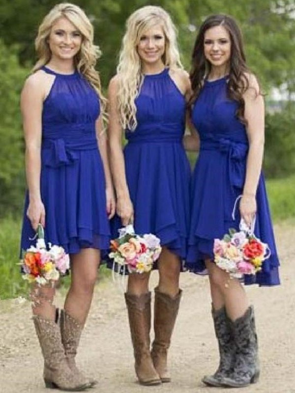 Royal Blue Country Short Rustic Bridesmaid Dresses with Cowboy Boots,FS071