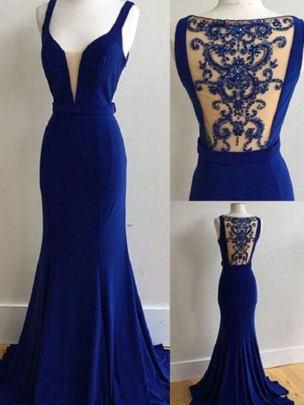 Royal Blue Gown Deep V Prom Dress Unique Prom Dress With Court Train MA175