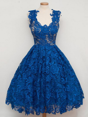 Royal Blue Lace Vintage Style Short Prom Dress Vintage Homecoming Dress #21011219-Dolly Gown