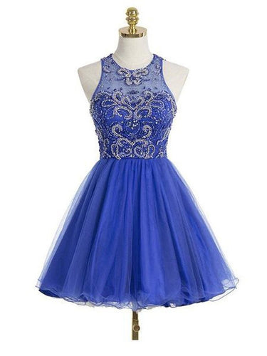 Royal Blue Short Homecoming Dress Freshman Open Back Homecoming Dress,SSD007-Dolly Gown