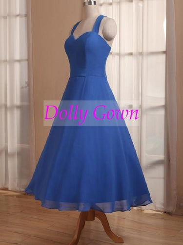 Royal Blue Tea Length 50s Style Vintage Bridesmaid Dresses 1950s bridesmaid dresses,20081103-Dolly Gown