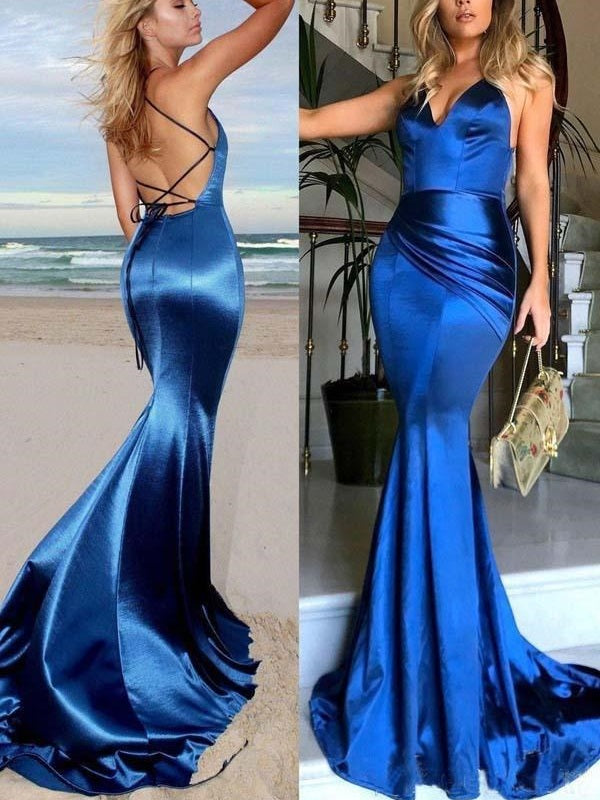 Royal Blue Fit and Flare Elastic Satin Backless Evening Dress,Prom Dress,GDC1279