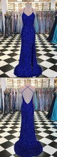 Royal Blue Sequin Long Sexy Sparkly Prom Dress Gown Low Back Evening Dress,GDC1004-Dolly Gown