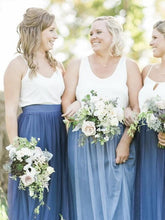 Rustic Boho Casual Tulle Skirt Flowy Two Piece Bridesmaid Dresses,20081823-Dolly Gown