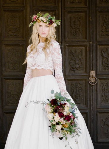 Rustic Long Sleeved Lace Crop Top Two Piece Wedding Dress, Long Bridal Separates,20082338-Dolly Gown