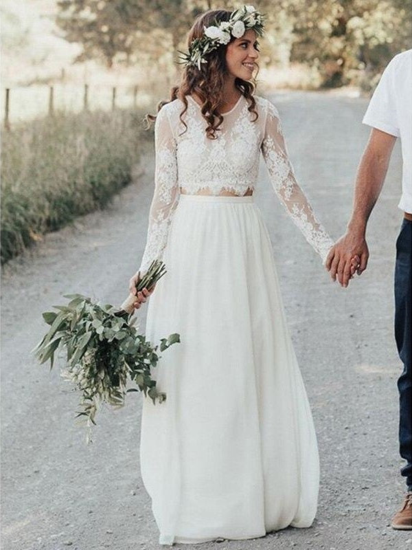 Rustic Scoop Neck Lace Top Flowy Bridal Separates Long Sleeve Top Two Piece Wedding Dress,20082699-Dolly Gown