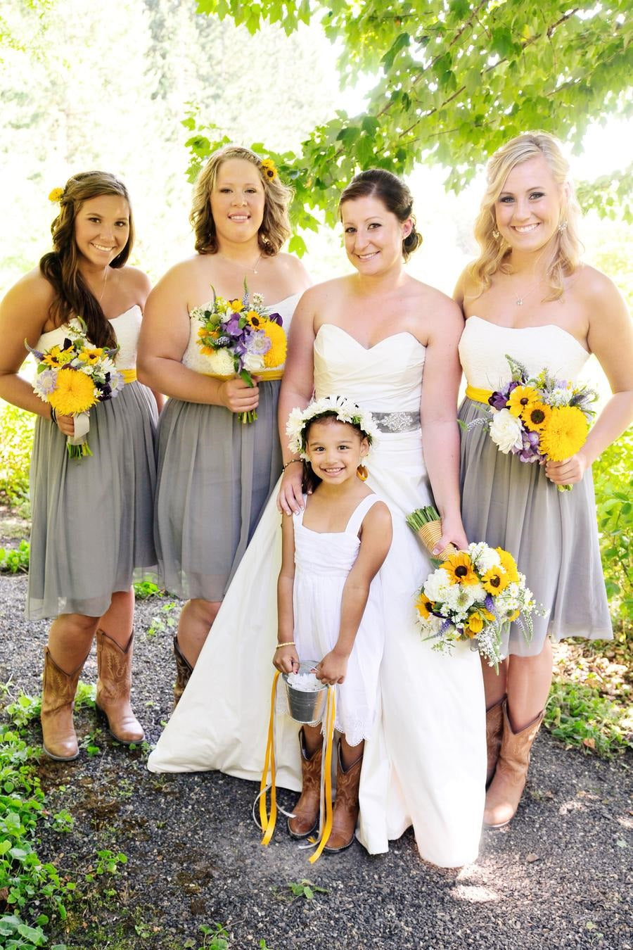 Rustic Short Tulle Two Color Strapless Bridesmaid Dress with Boots,Summer Bridesmaid Dress,20081803