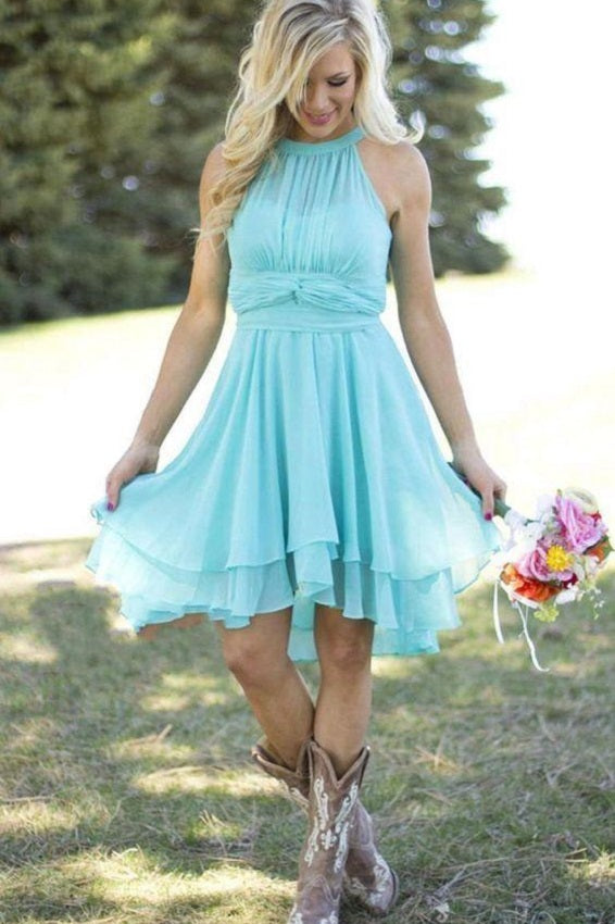 Rustic Sophisticated Halter Blue Chiffon Short Bridesmaid Dress with Boots,20081609
