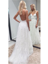 Simple Rustic 3D flowers A-line Tulle Backless Wedding Dress,GDC1086
