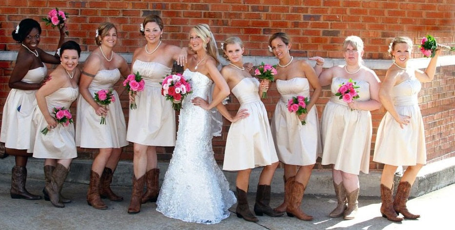 https://www.dollygown.com/collections/bridesmaid-dresses-with-boots/products/rustic-taffeta-ruched-strapless-short-bridesmaid-dresses-with-cowboy-boots-gdc1513