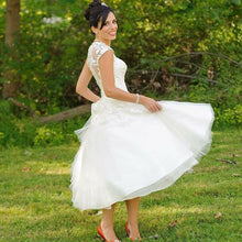 Rustic Vintage inspired 50s Lace Tulle Tea Length Wedding Dress with Cap Sleeves,GDC1520
