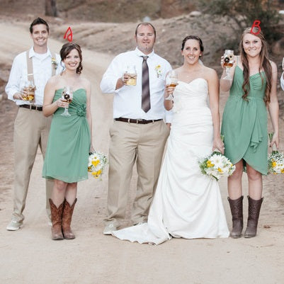 Sage Chiffon Short Rustic Wedding Mismatched Bridesmaid Dresses with Cowgirl Boots,GDC1513