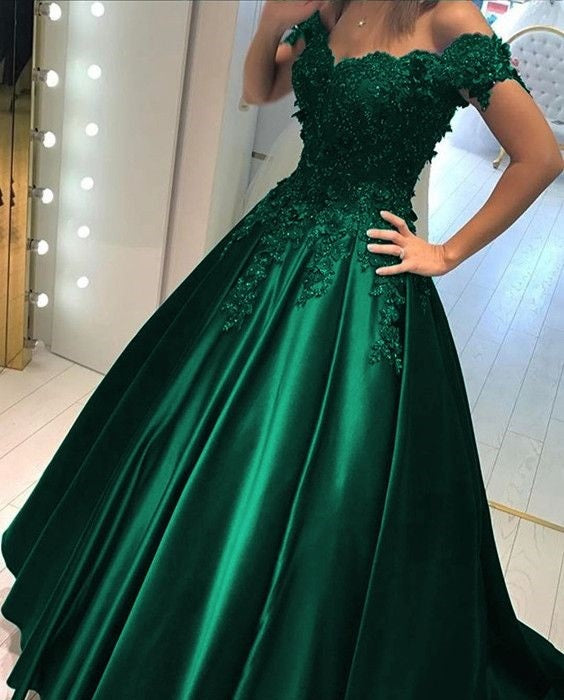 Satin Prom Dress Hunter Green Off Shoulders Ball Gown Prom Dress with Lace Appliques,18021604-Dolly Gown
