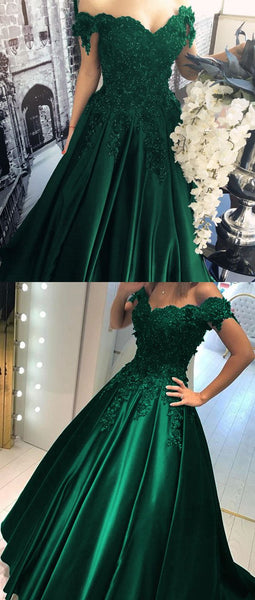 Satin Prom Dress Hunter Green Off Shoulders Ball Gown Prom Gown with Lace Appliques,18021604