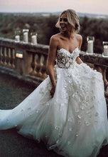 See Through Organza Sweetheart Neck 3D flower Bridal Country Wedding Dress,GDC1262-Dolly Gown