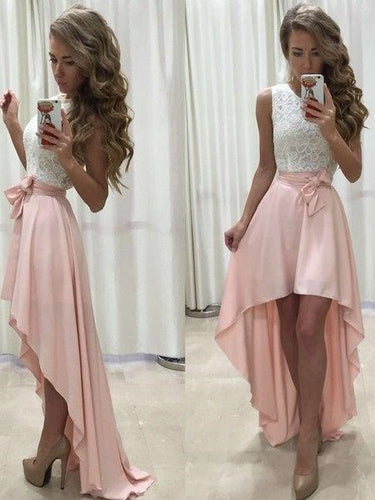 Sexy High Low Homecoming Dress White Lace Top Prom Dress with Pink Skirt,#711062-Dolly Gown