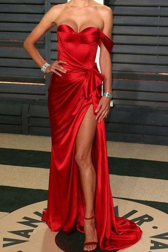 Sexy Off the Shoulder Red Long Prom Dress with Side Slit,20081912-Dolly Gown
