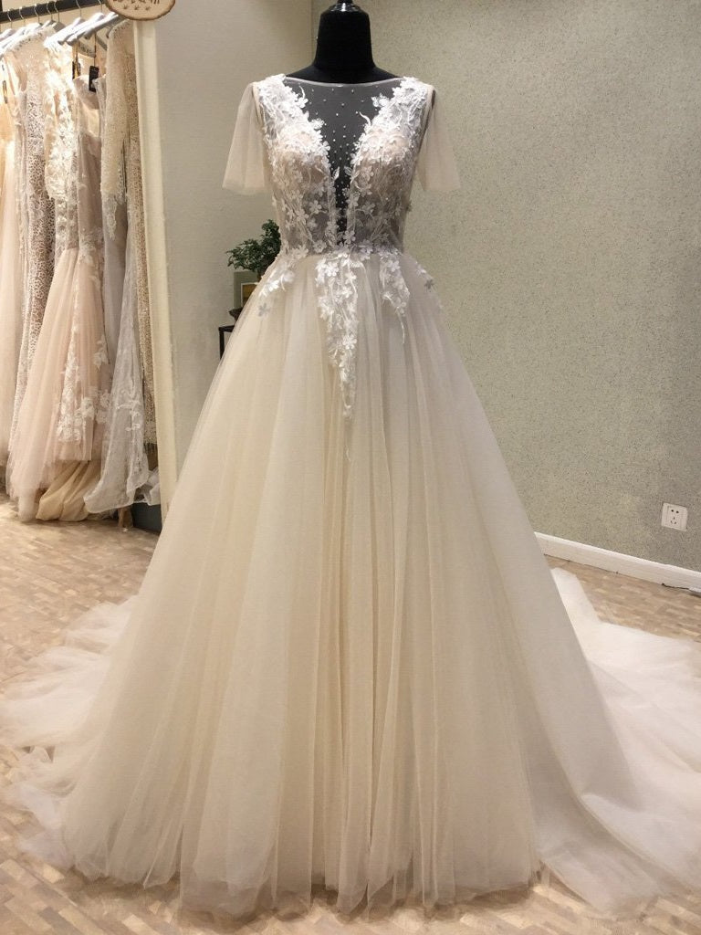 Sexy See Through Floral Tulle Deep V Neck Lace Top  Ball Gown Wedding Dress #711069-Dolly Gown